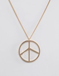 Asos Peace Sign Necklace In Gold Gold