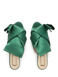 No.21 Bow Satin Sandals Green