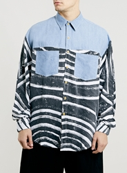 Topman Horace Denim And Africa Print Long Sleeve Shirt Multi