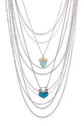 Spring Street Multi Layer Stone Drop Necklace Metallic