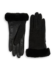 Ugg Faux Fur Lined Shearling Cuff Wool Blend And Leather Gloves Black