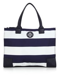 Tory Burch Packable Striped Tote Navy