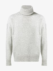 Ami Alexandre Mattiussi Alpaca Wool Blend Roll Neck Sweater Grey White
