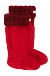 Hunter Women's Original Tall Cable Knit Cuff Welly Boot Socks Military Red Dulse