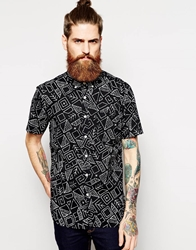 Element Shirt With All Over Print Short Sleeves Black
