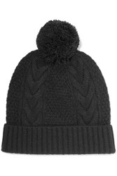 N.Peal Cashmere Pompom Embellished Cable Knit Cashmere Beanie Black