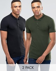 Asos Extreme Muscle Jersey Polo 2 Pack In Black And Green Black Army Green Multi