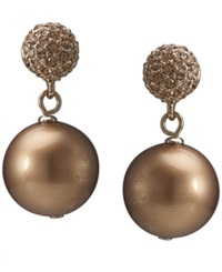 Carolee Earrings Gold Tone Glass Pearl Crystal Double Drop