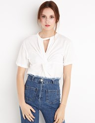 Pixie Market Knotted White Tee By New Revival