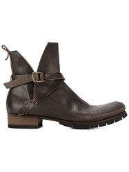 Ma Buckle Strap Boots Brown