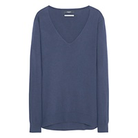 Mango V Neck Cashmere Blend Jumper Navy