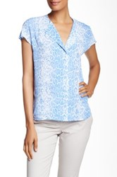 Laundry By Shelli Segal Printed Sleeveless Blouse Blue