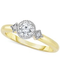 Macy's Diamond Bezel Set Engagement Ring 1 2 Ct. T.W. In 14K Gold Yellow Gold