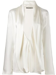 Haider Ackermann Draped Wrap Blouse Nude And Neutrals