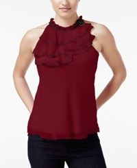 Amy Byer Bcx Juniors' Sleeveless Ruffled Blouse Red
