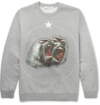 Givenchy Cuban Fit Printed Fleece Back Cotton Jersey Sweatshirt Gray