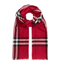 Burberry Shoes And Accessories Gauze Giant Check Wool Silk Scarf Female Pink
