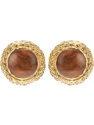 Chanel Vintage Wooden Centre Clip On Earrings Metallic