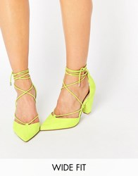 Asos Sinead Wide Fit Lace Up Heels Yellow