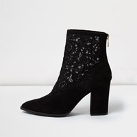 River Island Womens Black Lace Western Ankle Boots