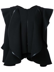 Robert Wun Structured Wide Ruffle Jacket Black