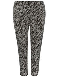 Evans Black And White Floral Tapered Trouser