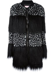 Giamba Animal Print Striped Coat Black