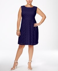 Love Squared Trendy Plus Size Fit And Flare Dress Navy