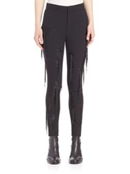 Ms. Min Fringe Accented Bodycon Pants Black