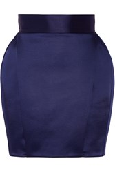 Balmain Pleated Satin Mini Skirt Navy