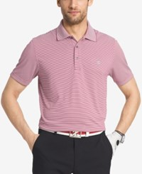 Izod Men's Striped Performance Golf Polo Rumba Red