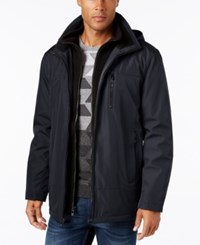 Calvin Klein Men's Big And Tall Hooded Fleece Lined Coat Midnight