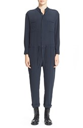 Superfine 'Cruise' Silk Jumpsuit Blue