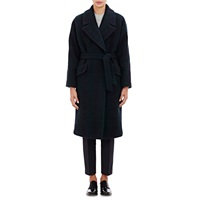 Tomorrowland Plaid Jacquard Belted Coat Navy Green
