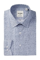 Ben Sherman Long Sleeve Tailored Slim Fit Linear Floral Dress Shirt Blue