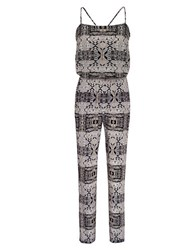 Ali Ro Print Silk Jumpsuit Grey Gold