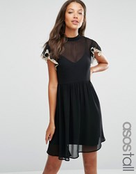Asos Tall Skater Dress With Lace Flutter Sleeve Black