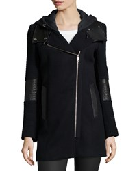 Andrew Marc New York Asymmetric Zip Hoodie Coat With Leather Detail Women's Black