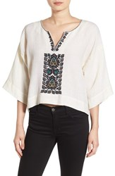 Plenty By Tracy Reese Women's Embroidered Crop Tunic Top Tusk