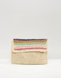 South Beach Paper Straw Clutch Bag Multi