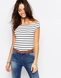 Esprit Stripe Bardot Top White