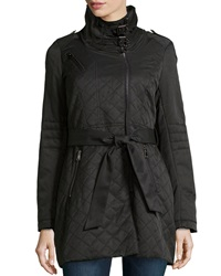French Connection Quilted Trench Rain Jacket Black