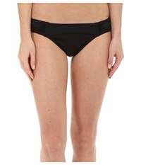 Tommy Bahama Pearl Solids Side Shirred Hipster Bottoms Black Women's Swimwear