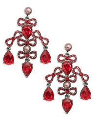Oscar De La Renta Bow And Teardrop Earrings Silver
