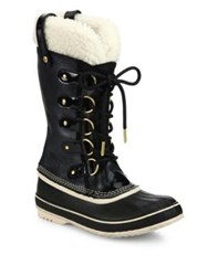 Sorel Joan Of Artic Leather And Faux Shearling Winter Boots Black