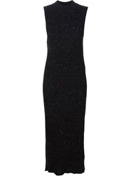 Ryan Roche Soft Shimmer Fitted Dress Black