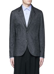 Lanvin Houndstooth Wool Flannel Soft Blazer Grey