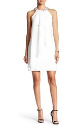 Adrianna Papell Necklace Halter Drape Front Dress White