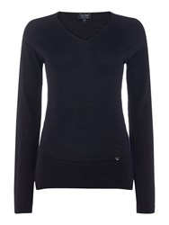 Armani Jeans Long Sleeve V Neck Wool Sweater Blue