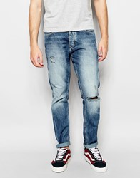 Jack And Jones Jack And Jones Anti Fit Jeans With Rips Mid Blue
